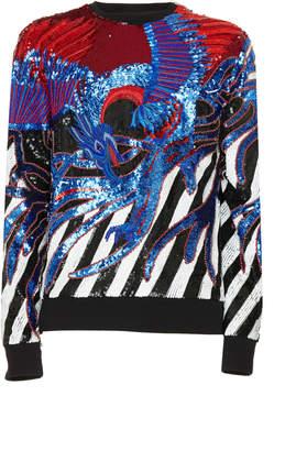 Balmain Embroidered Stripes Sweatshirt