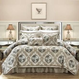 BEIGE Chic Home 13-piece Angelica Jacquard Luxury Comforter Set