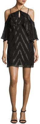 Ella Moss Dinah Double-Ruffle Cold-Shoulder Dress, Black $298 thestylecure.com