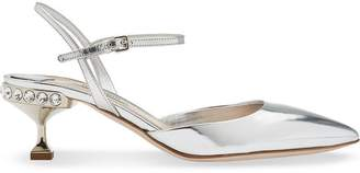 Miu Miu mirror jewel heel slingback pumps