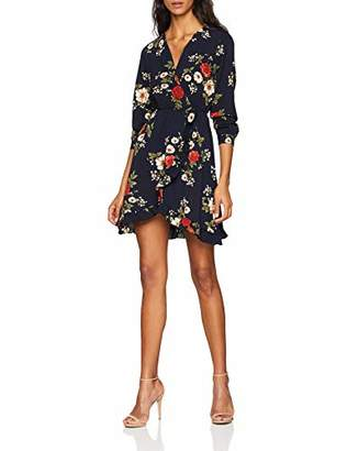 Yumi Women's Floral Front Frill Dress,8