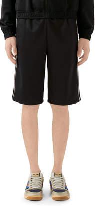 Gucci Men's Track Shorts w/ Contrast Side Stripes