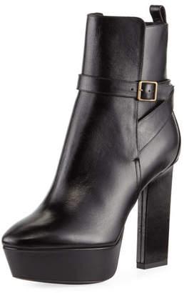 Saint Laurent Vika Leather Platform Bootie