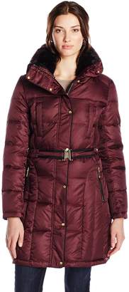Vince Camuto Outerwear Women's Belted Down Coat with Faux Fur Collar