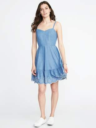 Old Navy Fit & Flare Embroidered-Hem Cami Dress for Women