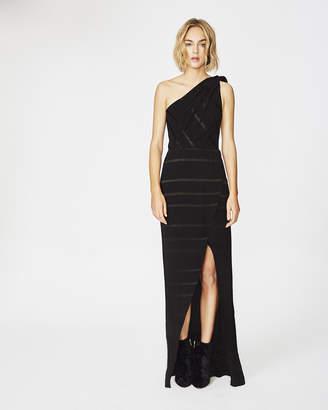 Nicole Miller Thistle Stripe One Shoulder Gown