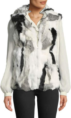 Adrienne Landau Mottled Rabbit Fur Vest