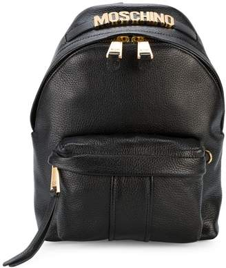 Moschino Black Logo mini leather backpack