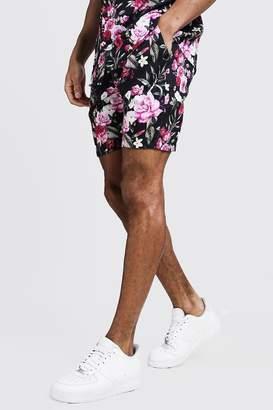 boohoo Floral Print Drawstring Waist Shorts