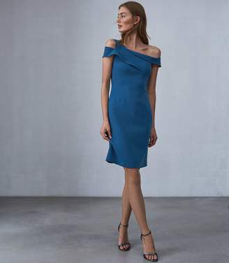 Reiss NATALIE ASYMMETRIC BODYCON DRESS Blue