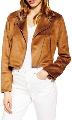 Topshop George Suedette Biker Jacket