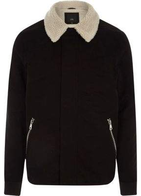 River Island Mens Black fleece collar jacket