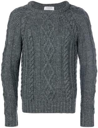 Thom Browne Aran Cable Knit British Wool Crewneck Pullover