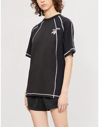 Alexander Wang Adidas X Logo-embroidered cotton and satin T-shirt 0b7aade25ba5f