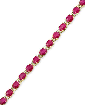 Effy Amore by Certified Ruby (12 ct. t.w.) and Diamond (1/4 ct. t.w.) Tennis Bracelet in 14k Gold, Created for Macy's