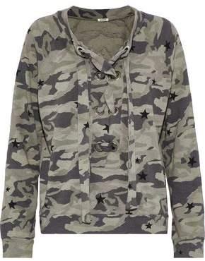 Monrow Lace-Up Printed Fleece Sweatshirt