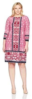 London Times Women's Plus Size 3/4 Sleeve Round Neck Jersey Shift Dress