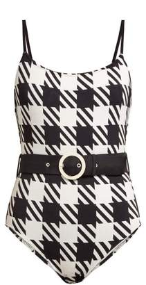 Solid & Striped The Nina Belted Swimsuit - Womens - Black White