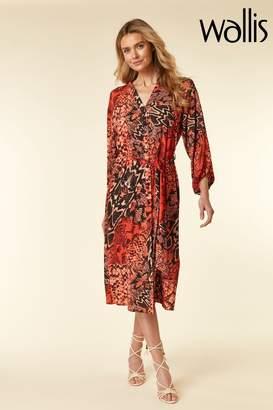 Wallis Womens Sunset Snake Shirt Dress - Orange