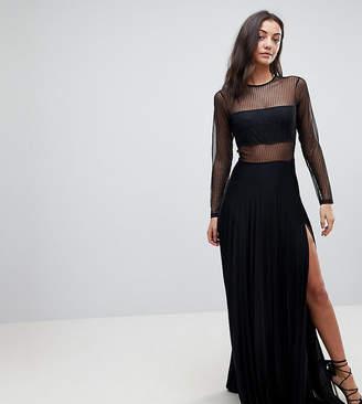 Asos Tall TALL Pleated Dobby & Lace Top Long Sleeve Maxi Dress