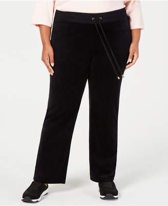 Charter Club Plus Size Velour Drawstring-Waist Pants