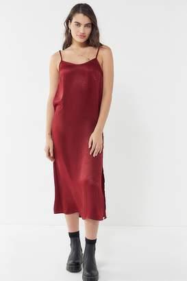 Urban Renewal Vintage Remnants Satin Side Slit Midi Slip Dress