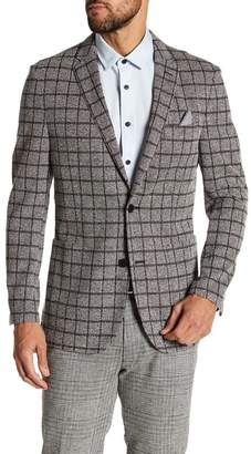 Vince Camuto Windowpane Notch Collar Double Button Slim Fit Blazer