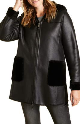 Marina Rinaldi Ecuba Reversible Hooded Faux Leather & Faux Shearling Coat