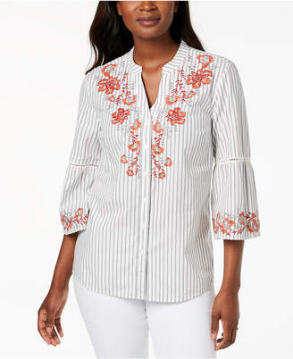 Style&Co. Style & Co Petite Embroidered Bell-Sleeve Blouse, Created for Macy's