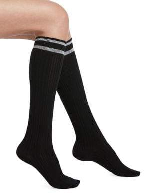 Hue Metallic Striped Top Cable Knee Socks