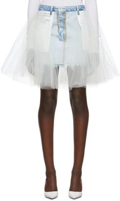 Unravel Indigo Denim Tulle Reverse Miniskirt