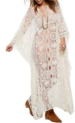 Santwo Fashion Sexy Swimsuit Cover Up Floral Lace Long Beach Dress Beachwear