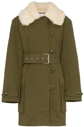 Proenza Schouler faux fur collar belted military coat