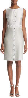 St. John Jasmine Jewel-Neck Sparkle-Knit Cocktail Dress