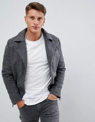 Armani Exchange wool biker jacket in gray