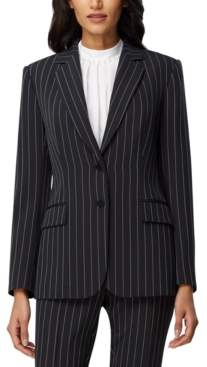 Tahari ASL Chalk-Stripe Two-Button Blazer