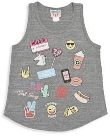 Junk Food Girl's Emoji Patch Ribbed Tank Top $38 thestylecure.com