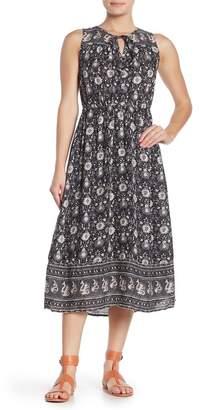 Lucky Brand Border Print Keyhole Sleeveless Midi Dress