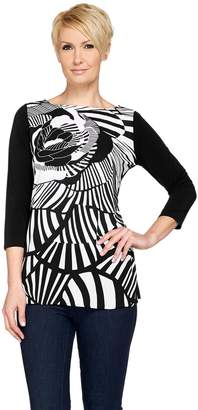 Susan Graver Printed Woven Tunic with Solid Liquid Knit Back