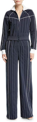 Valentino Long-Sleeve Zip-Front Striped Techno Jersey Wide-Leg Jumpsuit