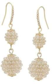 Carolee Pave Pearl Disc Drop Earrings