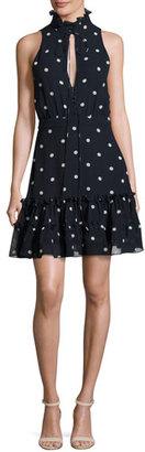 NICHOLAS Sleeveless Polka Dot Silk Mini Dress, Navy Blue/White $595 thestylecure.com