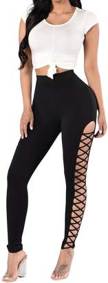 Mushuji Women Crisscross Cutout Sides High Waist Sports Leggings Work Out Yoga Pants Tights Running Leggings Slim Fit