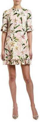 Dolce & Gabbana 1/2-Sleeve Lily-Print Ruffled Cady Dress