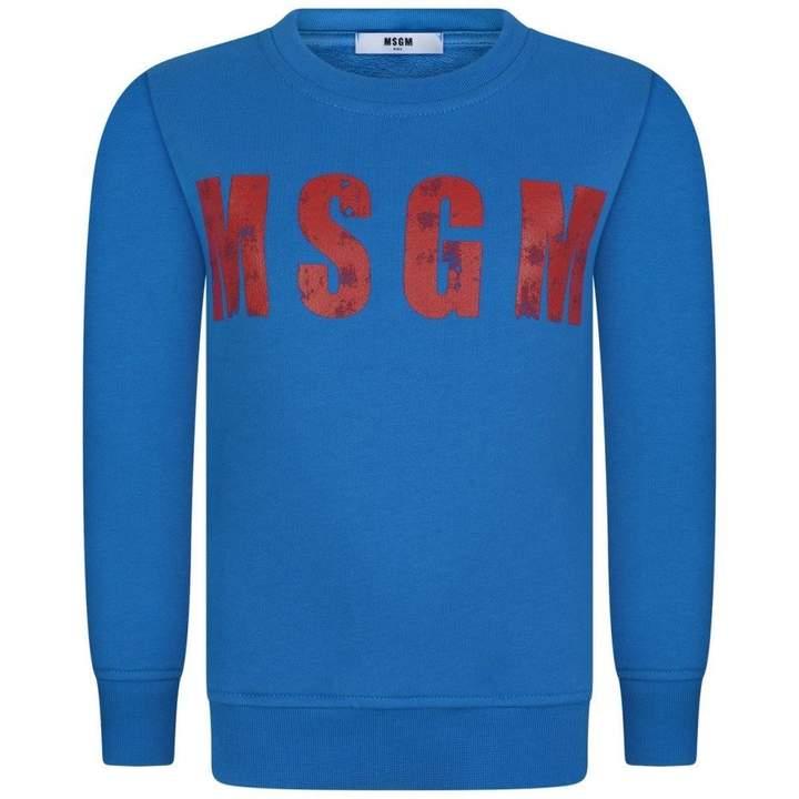 MSGMBoys Blue Logo Print Sweater