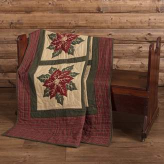 Ashton & Willow Khaki Tan Traditional Christmas Decor National Quilt Museum Poinsettia Block Rod Pocket Cotton Hand Quilted Stenciled Floral / Flower Throw
