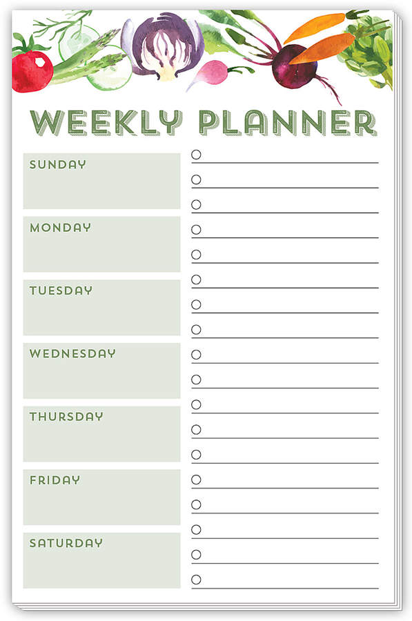 Vegetable 'Weekly Planner' Notepad