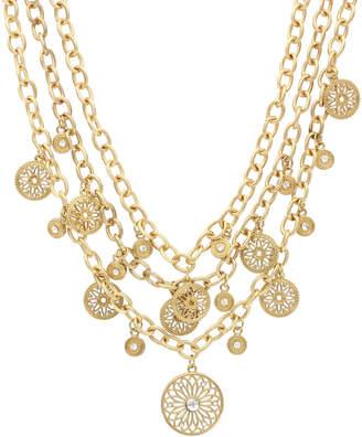 Sparkling Sage 14K Plated Crystal Bib Necklace