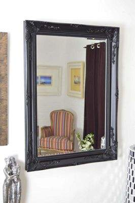 MirrorOutlet Large Antique Style Rectangle Wall Mounted Black Wood Mirror 3Ft8X2Ft8 110X79Cm Single (30)