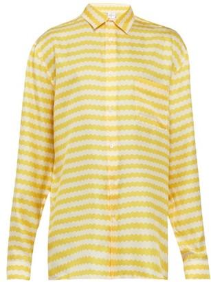 All At Sea - Wave Print Silk Pyjama Shirt - Mens - Yellow